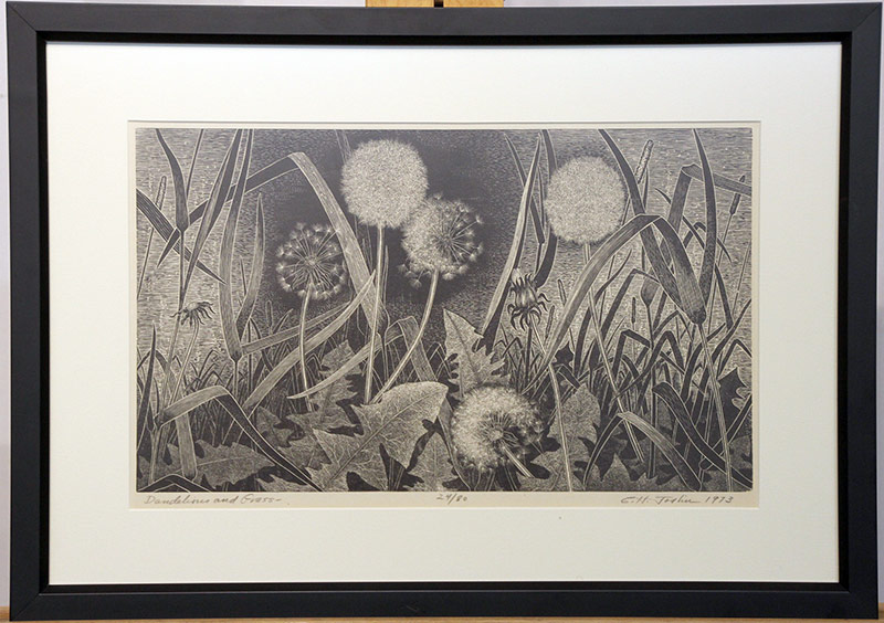 123. Charles H. Joslin. Engraving, Dandelions and Grass | $153.75