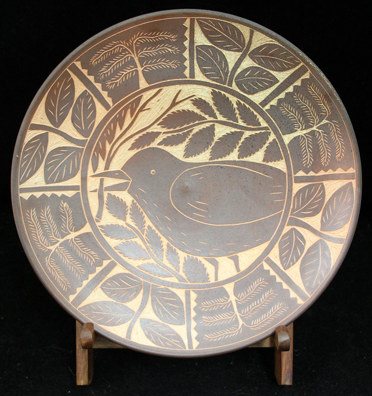 128. Matthew Metz. Salt-Glazed Charger with Bird | $246