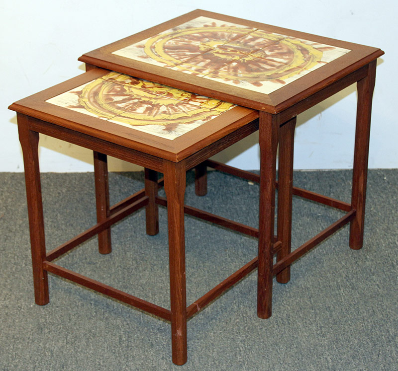 132. Nest of Two Tile-top Danish Teak Side Tables | $94.40