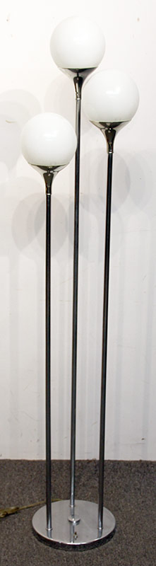 134. Modernist Chrome Floor Lamp w/Three Ball Shades | $215.25