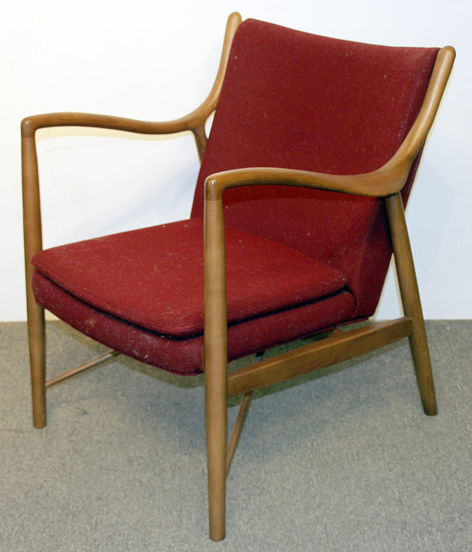 135. Modern Design Open Arm Chair, Burgundy Upholstery | $1,003