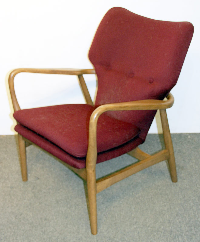 138. Modern Design Open Arm Chair, Burgundy Upholstery | $215.25