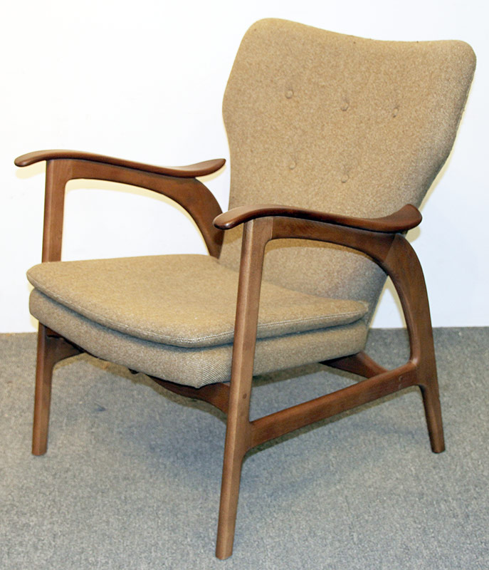 139. Modern Design Open Arm Chair, Beige Upholstery | $118
