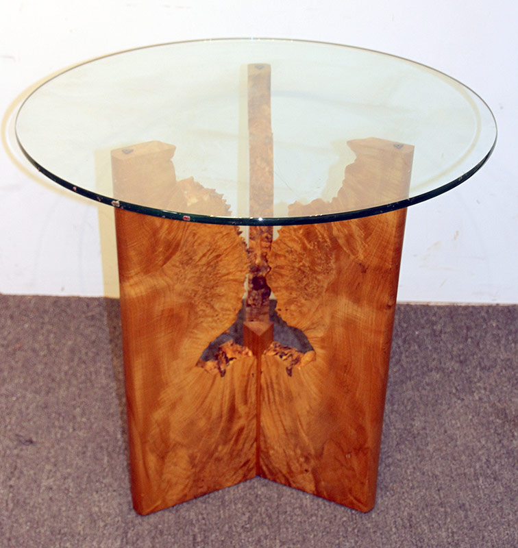 166. Artisan Spalted Wood Lamp Table with Glass Top | $472