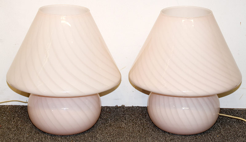 171. Pair of Pink Swirl Glass Mushroom Table Lamps | $246