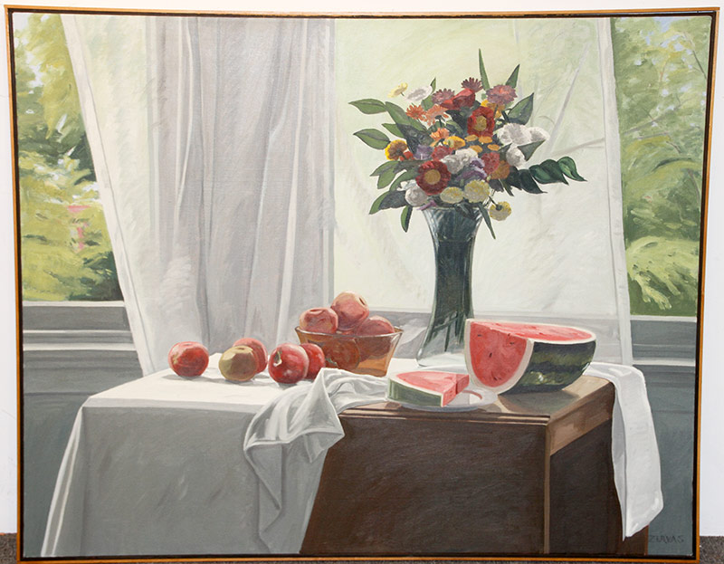 176. Carter Zervas. Oil/Canvas, Still Life with Transparent Curtain | $236