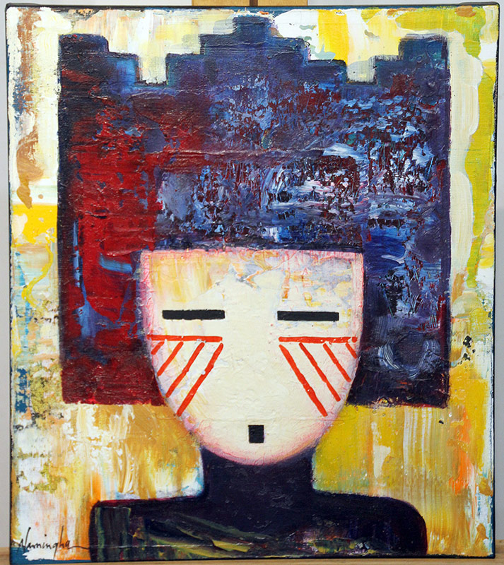 177. Dan Namingha. Acrylic/Canvas, Kachina Series 5 | $861