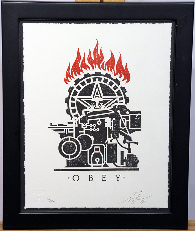 "178. Shepard Fairey Signed & No. ""Obey Press\"" Etching 