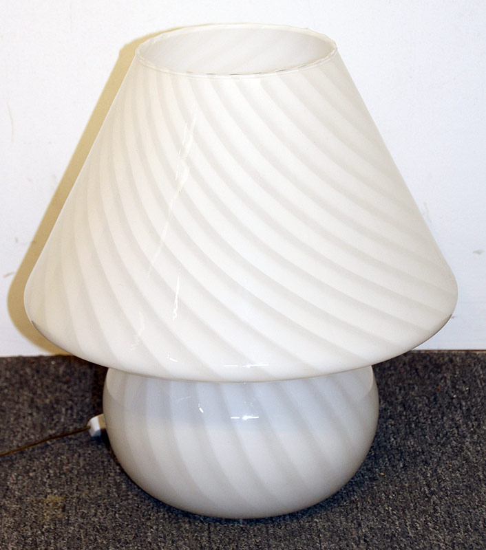 192. White Swirl Glass Mushroom Table Lamp | $184.50