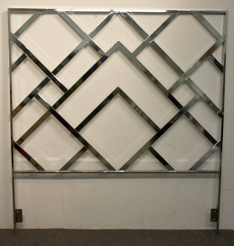 195. Modernist Chrome Headboard, Geometric Design | $236