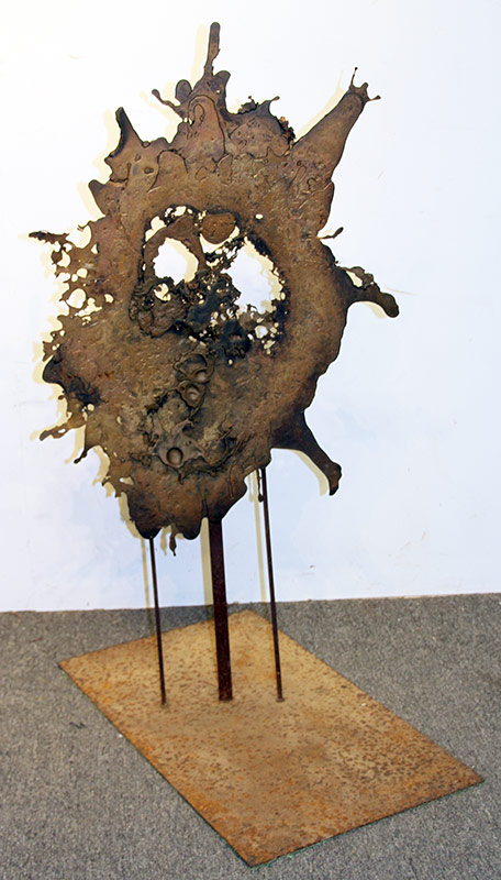 "201. Modern Mixed Metal Abstract ""Splatter\"" Sculpture 