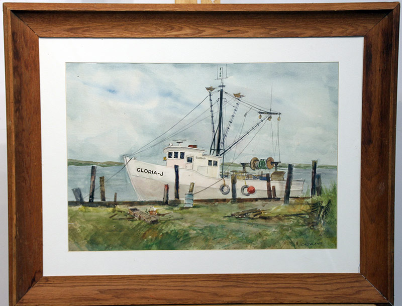 207. Joseph Casalane. Watercolor, Fishing Boat Gloria-J | $70.80