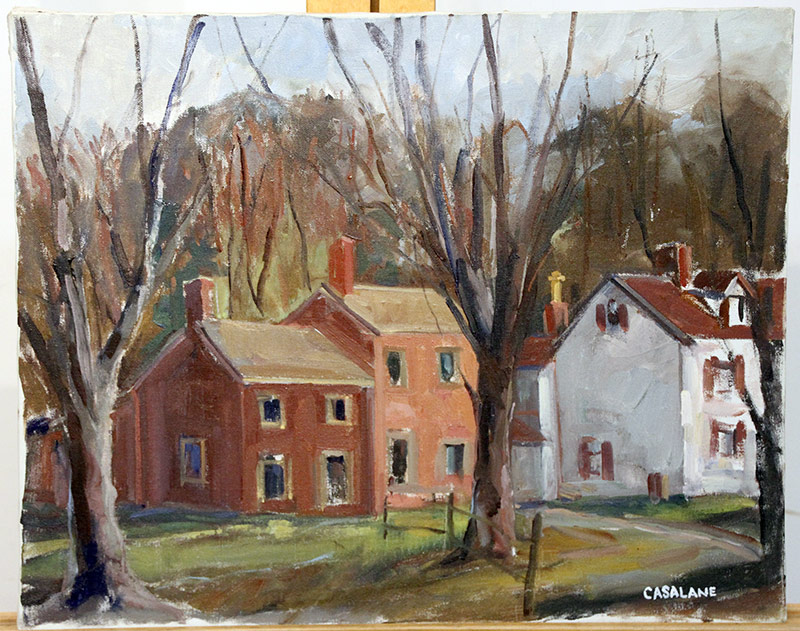 208. Joseph Casalane. Oil/Canvas, Village Landscape | $82.60
