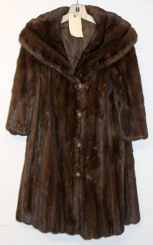 212. Mid-Length Brown Fur Coat with Brass Buttons | $49.20
