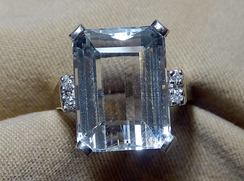 213. White Topaz Ring in 14K White/Yellow Gold | $276.75