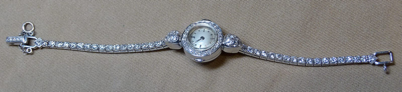 214. Ladies Diamond Wristwatch in Platinum Case | $885