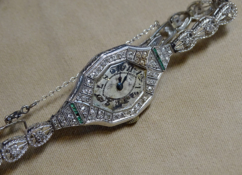 215. Early Ladies Diamond Wristwatch in Platinum | $708