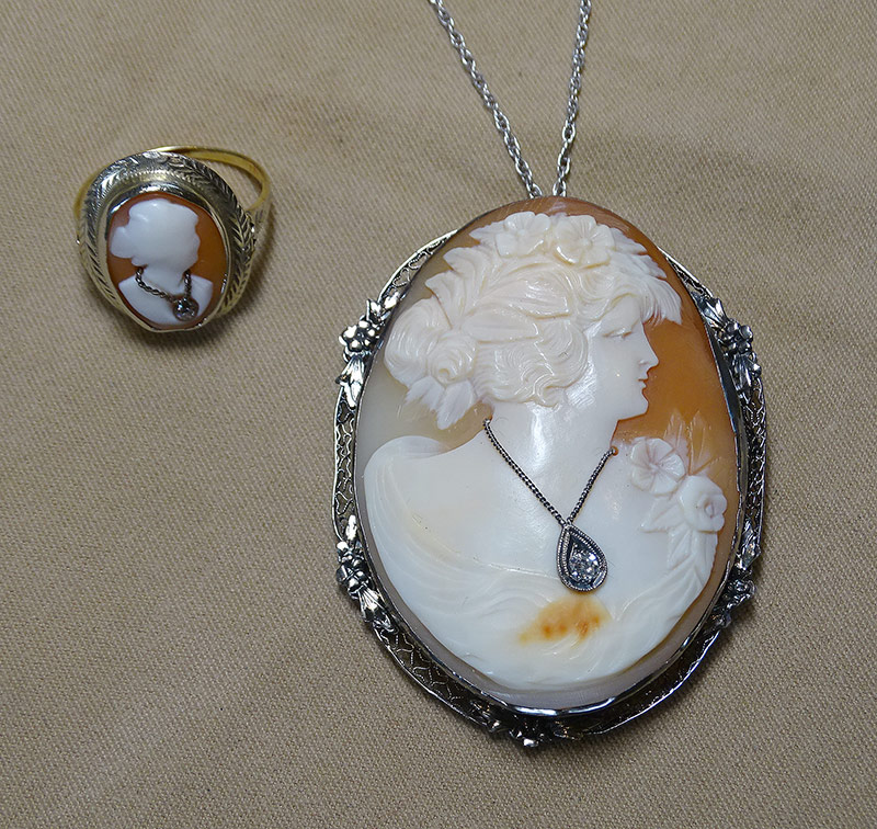 216. Shell Cameo Necklace and Ring in 14K Gold | $215.25
