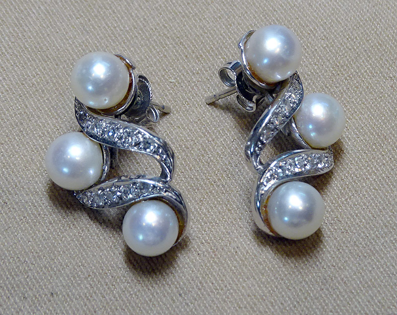 220. Pearl and Diamond Earrings in 14K White Gold | $338.25