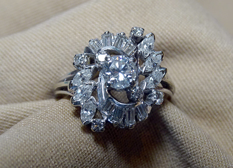 222. Diamond Dinner Ring in 14K White Gold | $590