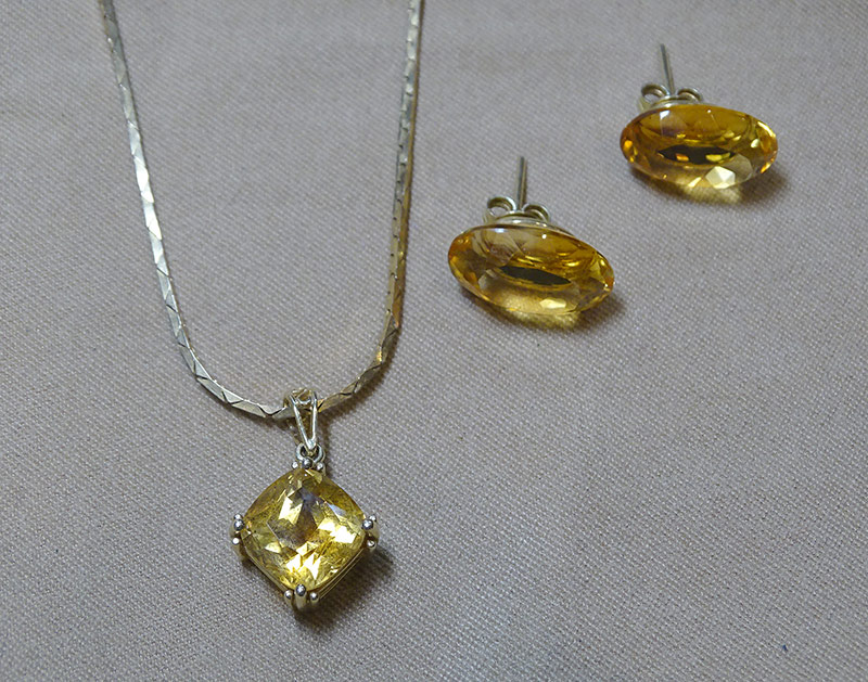 227. Citrine Earrings and Pendant Suite | $324.50