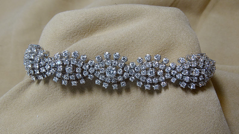 232. Diamond Cluster Bracelet in 18K White Gold | $2,952