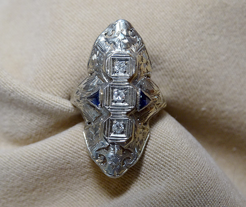 238. Diamond and Sapphire Ring in 18K White Gold | $354