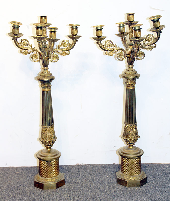 249. Pair of Gilt Bronze Five-light Candelabra | $354