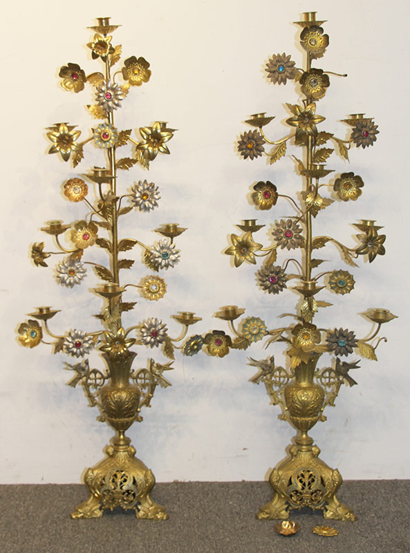 262. Pair of Gilt Metal Foliate-Form Candelabra | $184.50