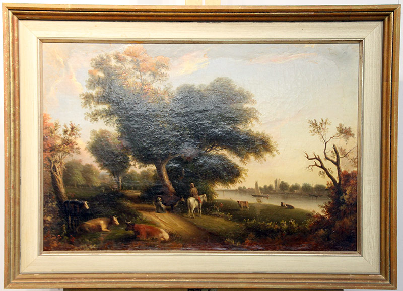 266. Continental School. Oil Canvas, Landscape with Cows | $147.50