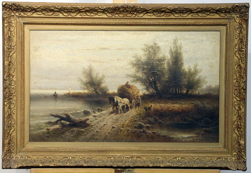 267. Albert Rieger. Oil/Canvas, Landscape, The Haywain | $430.50