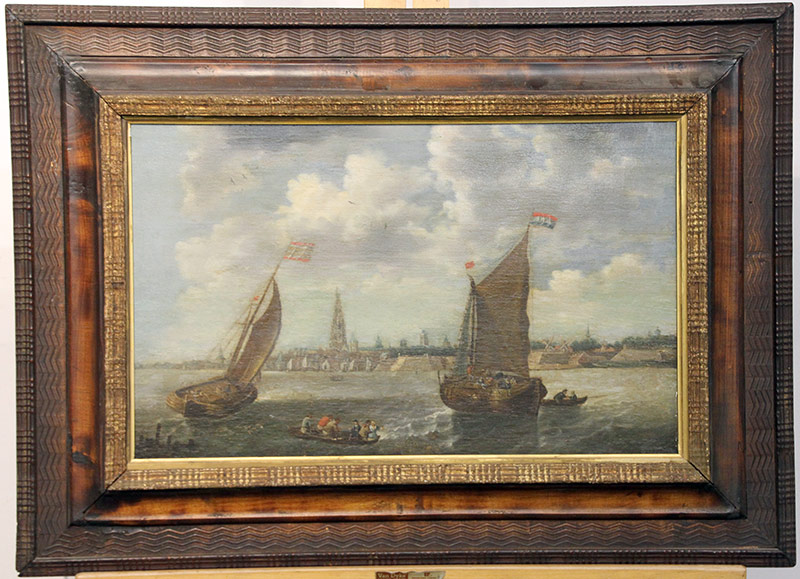 268. Continental School. Oil/Board, Maritime Scene | $799.50