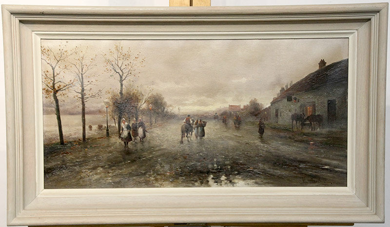 269. Continental School. Oil/Canvas, Genre Village Scene | $430.50