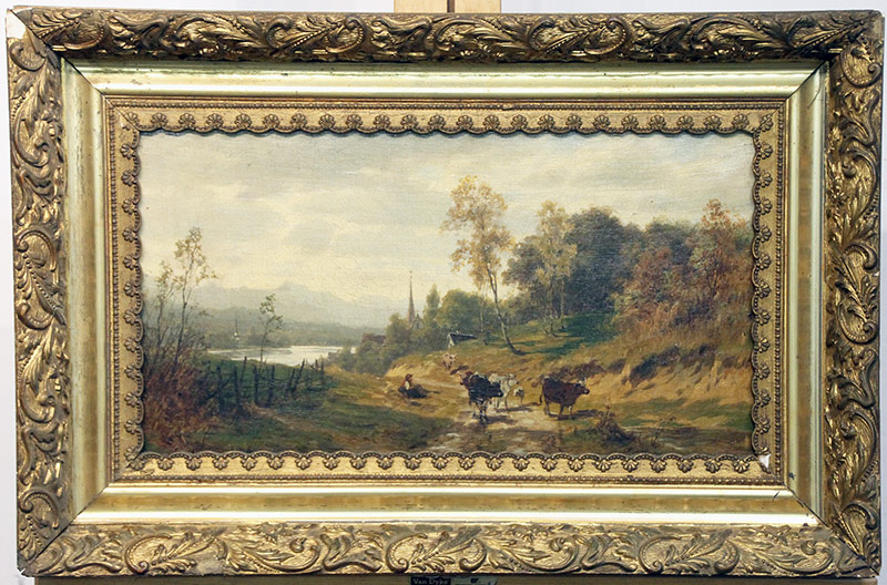 270. Eugen Hettich. Oil/Canvas, Landscape with Cows | $324.50