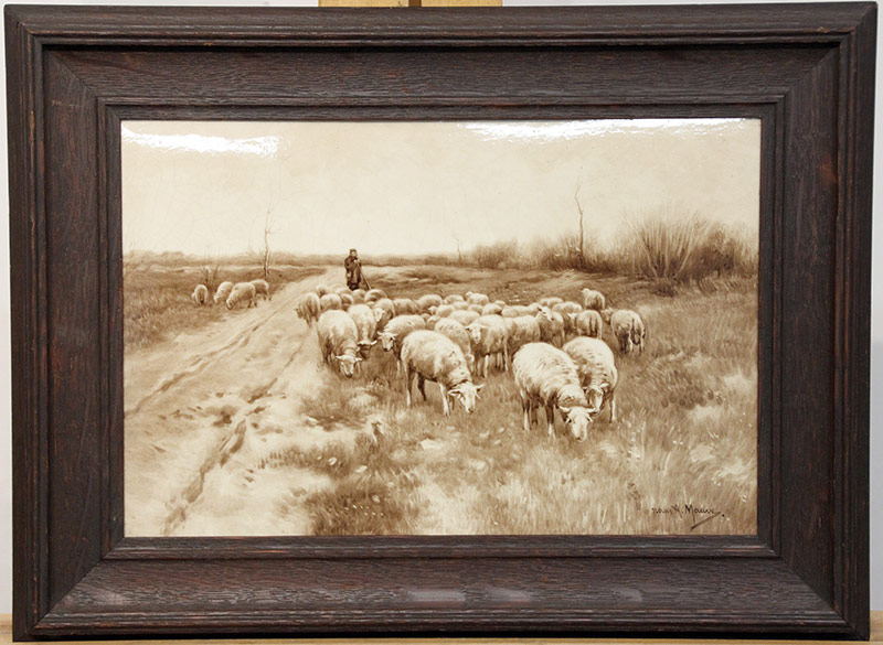 274. After Anton Mauves. Delft Plaque, Shepherd | $522.75