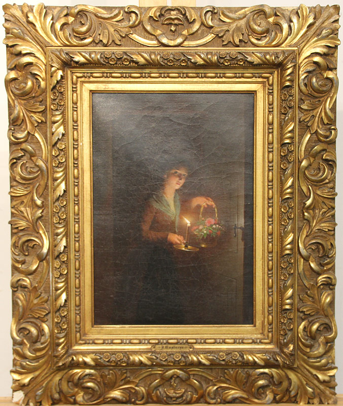 276. Johannes Rosierse. Oil/Canvas, Girl with Candle | $2,124