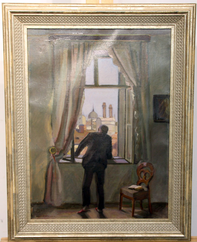 279. Hermann Grom-Rottmayer. Oil/Canvas, View From The Window | $215.25