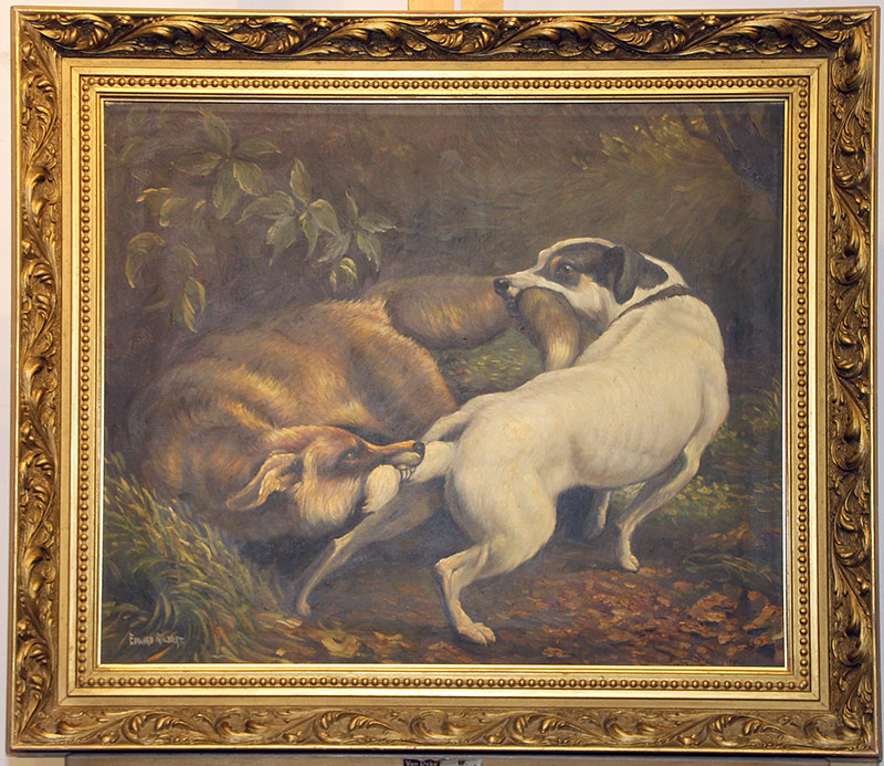 282. Edward Gilbert. Oil/Canvas, Two Dogs | $553.50