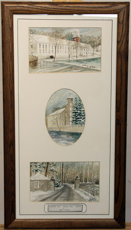 283. Mary Foster. Watercolor Triptych: Walkers Mills, Brecks Mill, and Hagley | $35.40