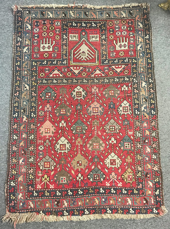 290. Caucasian Prayer Rug, 56in. x 38in. | $369