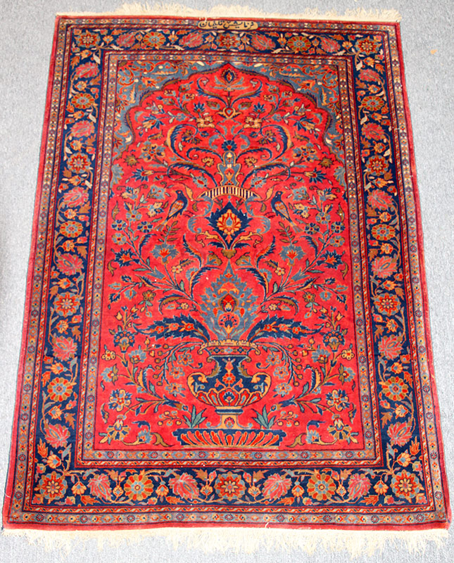 291. Kashan Prayer Rug, 58in. x 41in. | $1,180