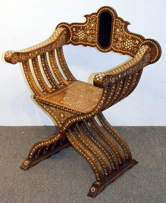 305. Moorish Inlaid Savonarola Chair | $501.50