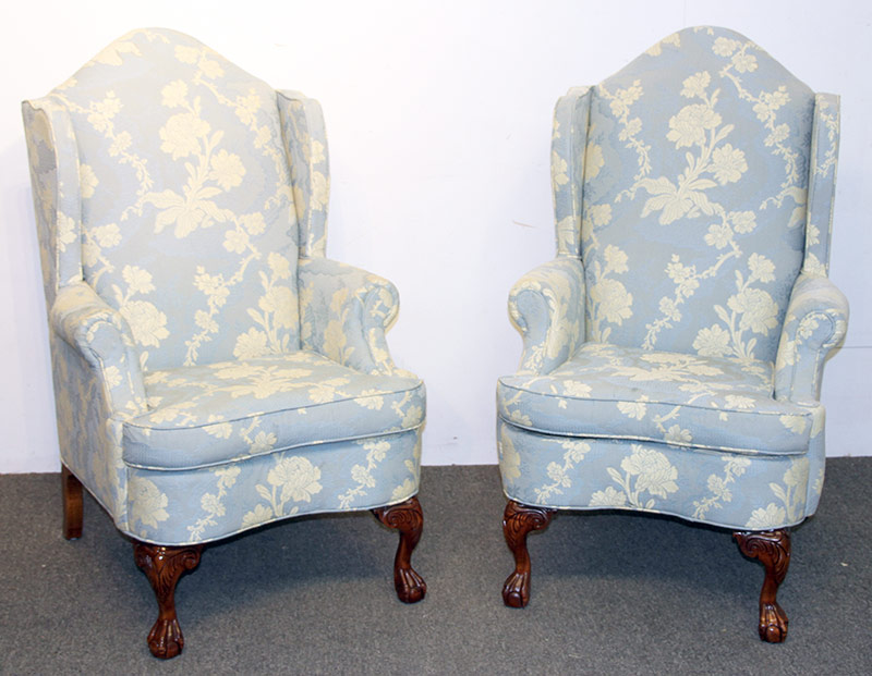 306. Pr. Chippendale-style Wing Chairs, Blue & White | $246