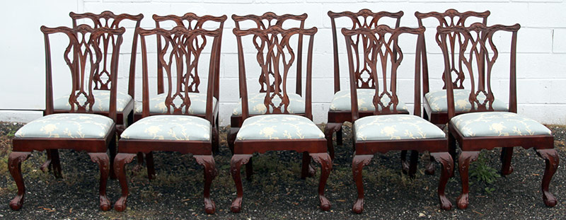 308. Ten Chippendale-style Mahogany Dining Chairs | $922.50