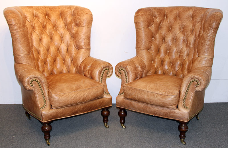 313. Pr. Lillian August Tufted-Leather Wing Chairs | $2,952