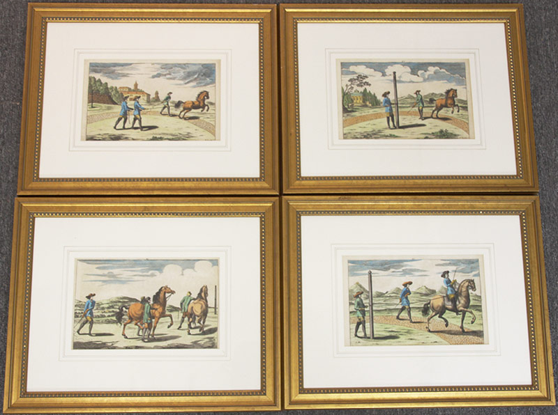 1. Four 18th C. German Equestrian Engravings. $265.50