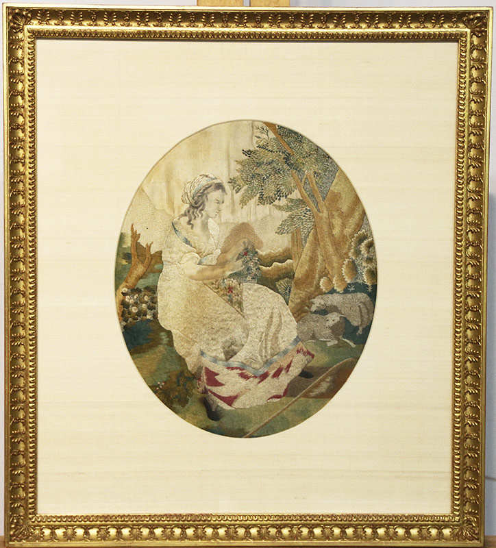 4. 19th Century Silk Embroidery: Maiden with Sheep. $82.60