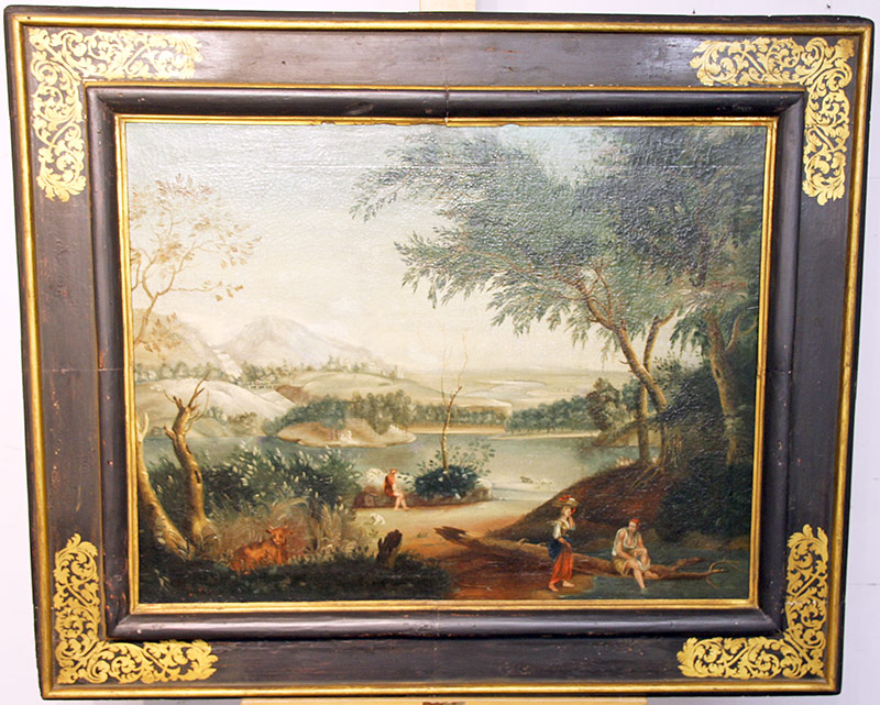 7. 18th C. Italian School Oil on Canvas, Landscape. $442.50