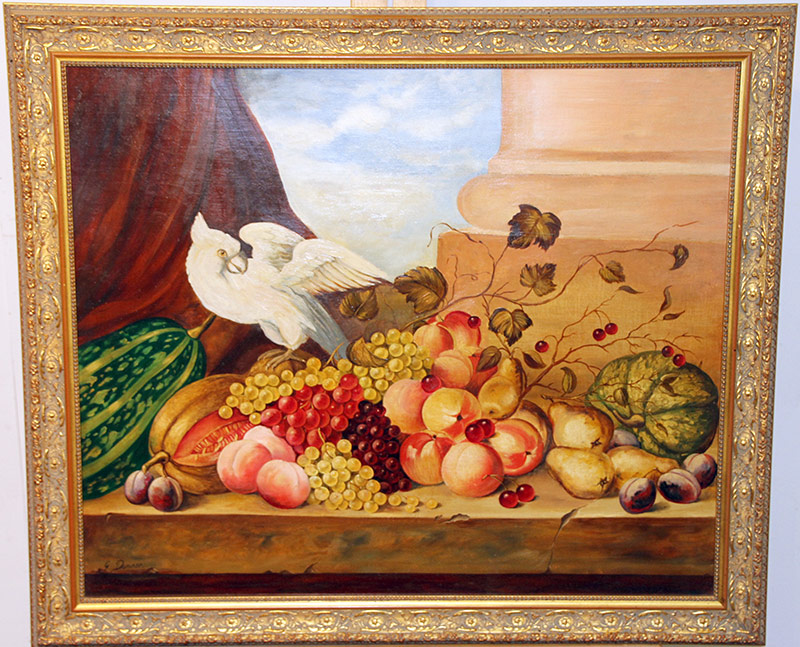 8. G. Dominar. O/C, Still Life: Fruit & Cockatoo. $147.50