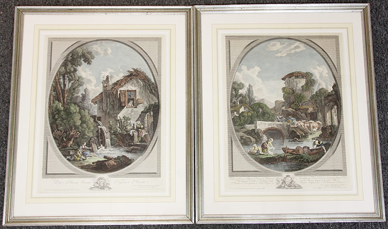 9. 2 Hand-Colored Engravings After Francois Boucher. $177